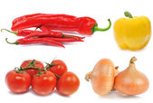 Tomatos, onions yellow and red hot chili peppers — Stock Photo
