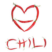 Chili peppers forming shape of heart — Stock Photo