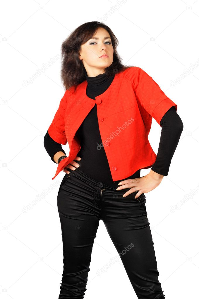 Beautiful pride girl in red-black clothes, isolated on white  Stock Photo #8912319
