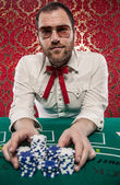 Man Playing Blackjack Bets All His Money — Stock Photo
