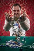 Happy Blackjack Winner Tosses His Money in the Air — Stock Photo