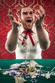 Happy Man Gets Rich at Blackjack — Stock Photo