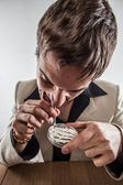 Young White Male Drug User Snorting Cocaine in Suit — Stock Photo
