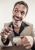 1970s Vintage Man Enjoying Cocaine Getting High — Stock Photo