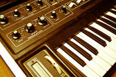 Synthesizer with knobs and keys — Stock Photo