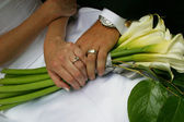 Newly Married Couple Holding Hands Wedding Bouquet — Stock Photo