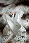 Pair of Beautiful White High Heels for a Wedding — Stock Photo