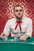 Man Playing Blackjack Wearing Glasses, Texas Tie — Stock Photo