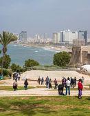 Tel-Aviv beach panorama. Jaffa. Israel. — Stock Photo