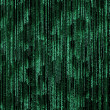 Green binary code on black background — Stock Photo
