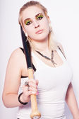 Beautiful blonde punk girl with a baseball bat — Stock Photo