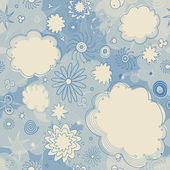 Seamless Stars and Clouds Pattern — Stock Vector