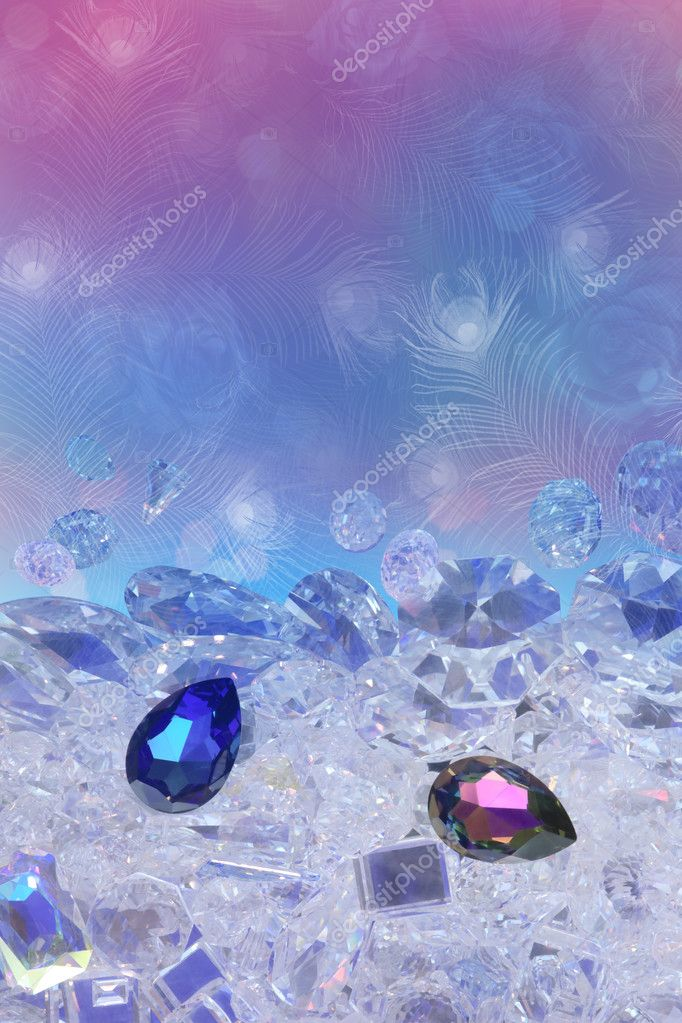 Blue and pink diamond drops, paced on a diamond ground of many cuts and forms. The background texture consist of subtle silhouettes of peacock feathers and rose buds. — Stock Photo #10345533