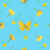 Repeatable pattern of a yellow butterfly with roses — Stock Photo