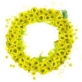 Graphic wreath - yellow bloom in feathers — Stock Photo