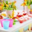 Closeup on table decorated for children's holiday — Stock Photo #10552811