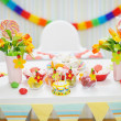 Closeup on table decorated for children's celebration party — Stock Photo
