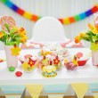 Closeup on table decorated for children's celebration party — Stock Photo #10552823