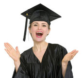 Graduation student woman applauding isolated — Stock Photo