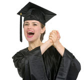 Student woman rejoicing graduation isolated — Stock Photo