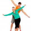 Fit girl and man in sportswear having fun isolated on white — Stock Photo #8577578