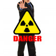 Сoncept-radiation hazard! Full length portrait of scared young businessman — Stock Photo