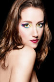Portrait of beautiful brown hair girl with extravagant makeup. R — Stock Photo