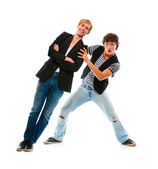 Two teenage boys having fun. Isolated on white — Stock Photo