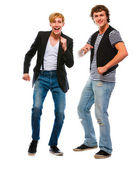 Two modern young men dancing on white background — Stock Photo