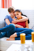 Romantic couple in love enjoying themselves at home — Stock Photo