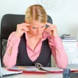 Modern business woman hard working on document at workplace — Stock Photo #8634014