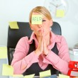 Begging for help modern female manager sitting at workplace cove — Stock Photo