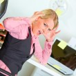 Shocked by set of tasks business woman — Stock Photo