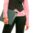 Closeup on folder in hand of business woman — Stock Photo