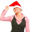 Cheerful office woman with Santa Hat over her eyes — Stock Photo