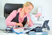 Hard working on documents modern business woman — Stock Photo