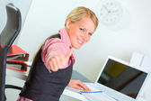 Portrait of successful modern business woman showing thumbs up — Stock Photo