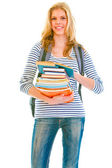 Happy teenager with books and backpack ready to go back to schoo — Stock Photo