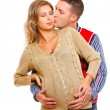 Smiling pregnant woman with husband — Stockfoto