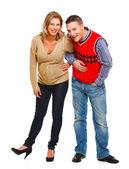 Sorridente donna incinta con il marito — Foto Stock