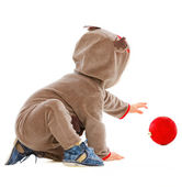 Cheerful baby playing with Christmas ball — Stock Photo