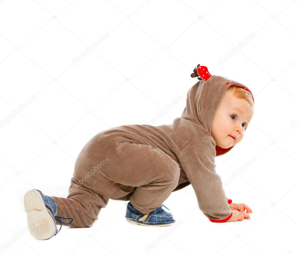 Curious baby in costume of Santa Claues reindeer crawling — Stock ...