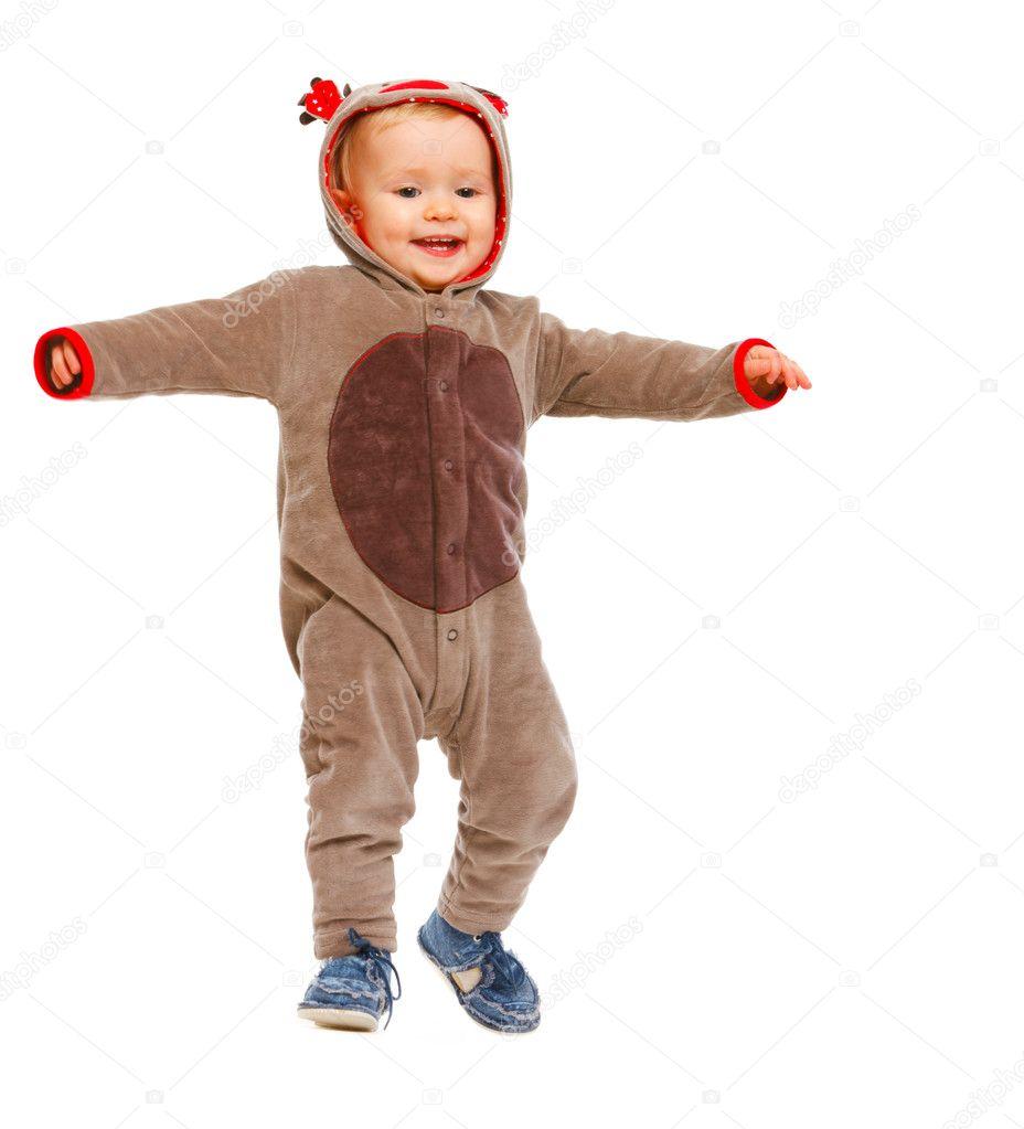 adorable b b en costume de p re no l renne dansant photo 8649348. Black Bedroom Furniture Sets. Home Design Ideas