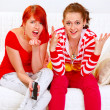 Girlfriends upset by TV program — Stock Photo #8651525