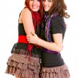 Stockfoto: Two good girlfriends happily embracing