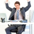 Excited businessman sitting at office desk and rejoicing his success — Stock Photo #8653833