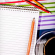 Coffee and notebook on desk — Foto Stock