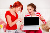 Two cheerful girlfriends pointing on laptops blank screen — Stock Photo