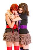 Attentive young girl hugging and calming her sad girlfriend — Φωτογραφία Αρχείου