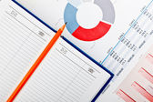 Diary, pencil and financial documents with charts — Stock Photo